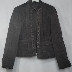 Chico's Corduroy with grommet detail jacket sz 1